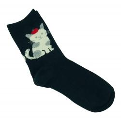 Теплые носки для девочек ( подростков ) Midini котик черные