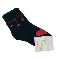 """Теплые носки для девочек тм""""Inaltun"""" черные с сердцем"""