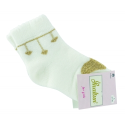 """Теплые носки для девочек тм""""Inaltun"""" молочные с сердцем"""