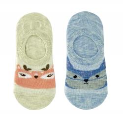 Следы ( носки) для девочек 2 пары Midini Мордочки голубые+бежевые