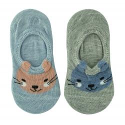Следы ( носки) для мальчиков 2 пары Midini Зайчики серые+голубые